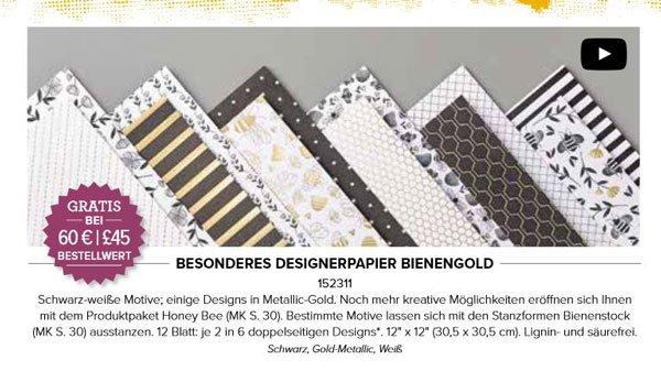 Designerpapier Bienengold