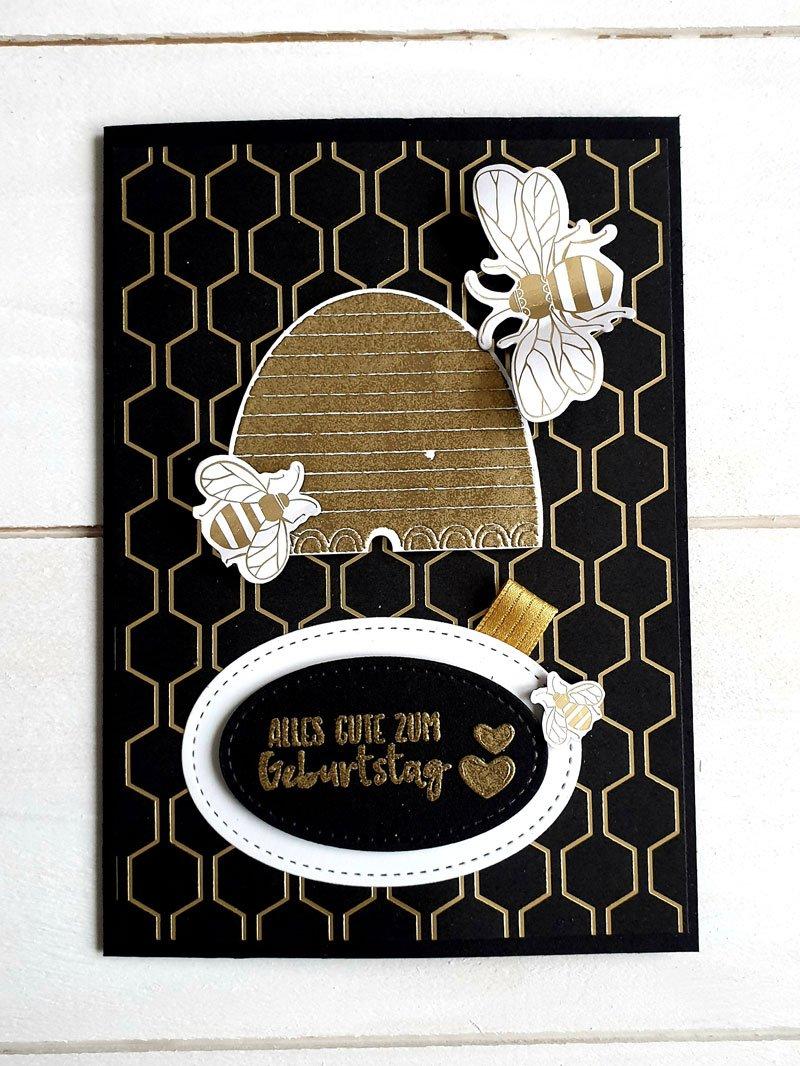 Geburtstagskarte schwarz gold